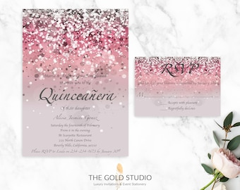 Pink Quinceanera Invitation + RSVP Card | Luxury Pink Glitter Quinceanera Invitation Suite | Glamorous 15th Birthday Party Invitations