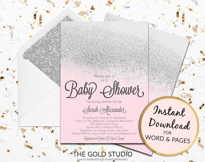 Baby Shower invitation Instant download editable template pink and silver glitter elegant modern print at home Edit in Word & Pages PC/ Mac