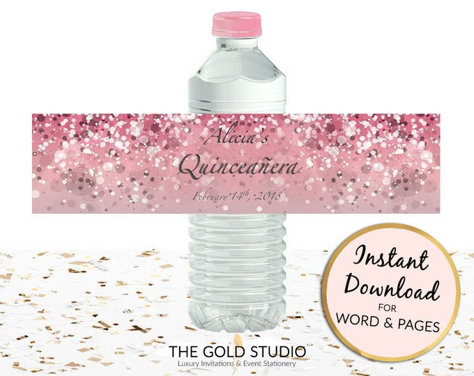Printable pink Quinceanera Water bottle custom labels pink mis quince anos drink sticker for Mac or PC, Word or Pages Instant Download