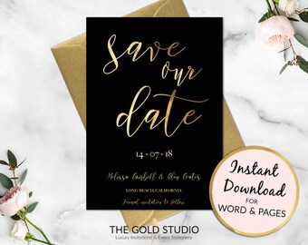 Save the Date Instant Download | Modern Gold Wedding Invitation | Printable Save Our Date invite | Modern Gold foil Calligraphy Invitation