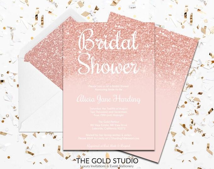 Rose Gold Bridal Shower Invitation   Modern Bridal Shower Invitation   Glam Peach Rose Gold Glitter Shower invite   Printed Invitations