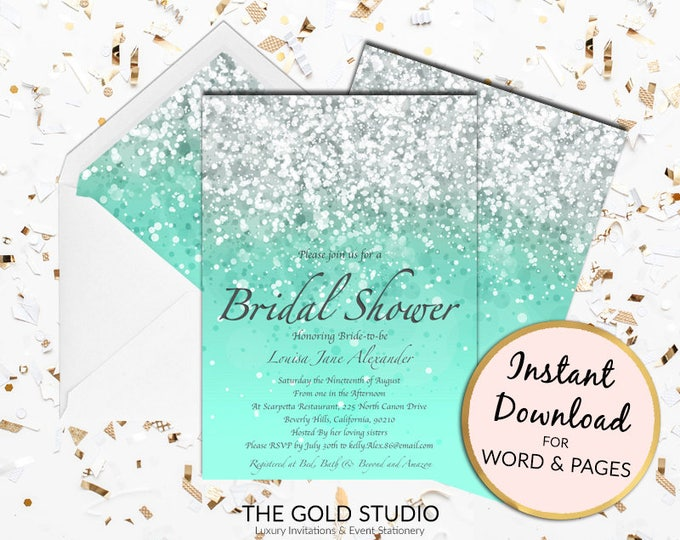 Mint green Bridal Shower invitation instant download turquoise glitter editable template elegant print at home invite Editable Word & Pages
