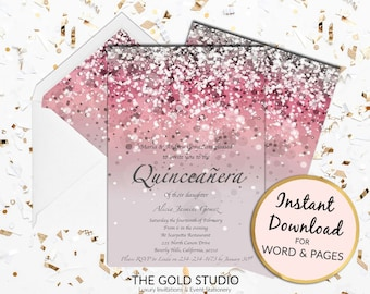 Pink Quinceañera invitation Mis quince anos Print at home Glitter pink Quince invite Birthday Mac or PC Word or Pages Instant Download