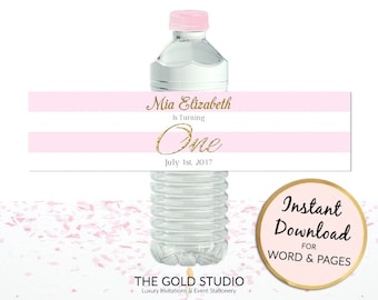 Printable pink 1st birthday Water bottle labels girl custom cover first birthday drink sticker for Mac or PC, Word or Pages Instant Download