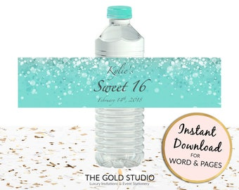 Sweet 16 Water bottle labels | Turquoise blue Sweet sixteen party favors | Editable printable Drinks labels | Instant Download Party decor
