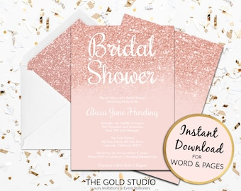 Rose Gold Bridal shower invitation Instant Download modern editable template Print at home pink peach glitter invite Mac or PC Word or Pages