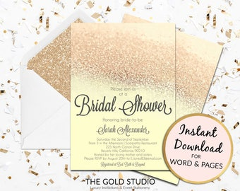 Instant Download Bridal Shower invitation yellow and gold glitter editable template elegant print at home invite Editable in Word & Pages