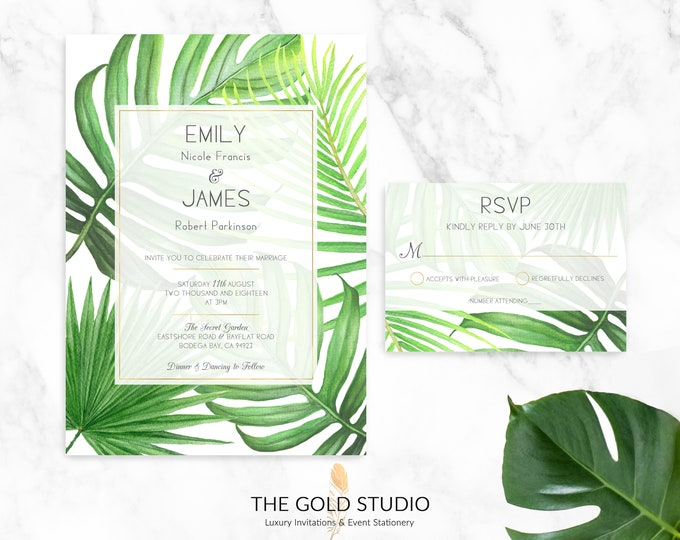 Tropical Wedding Invitation Suite | Green Leaves Invitation + RSVP Set | Palm Leaf Luxury Wedding Invitations | Hand Drawn Tropical Leaves