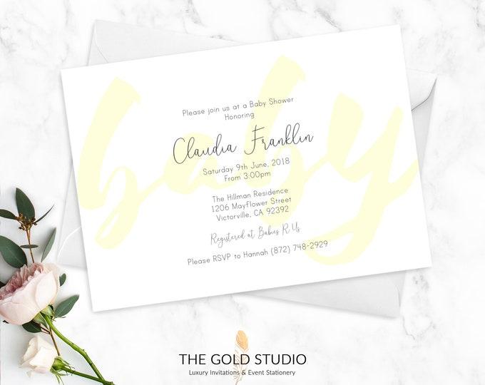 Baby Shower Invitations   White & Yellow Gender Neutral Baby Shower Cards   Elegant Modern Baby Shower   Printed Baby Shower Invitations