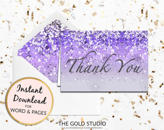 Purple Thank you card Instant Download | Lilac thank you note card | Sweet 16, Bridal Shower, Birthday thanks | Printable thank you note