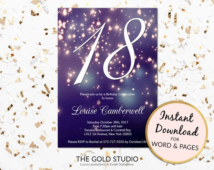18th birthday invitation instant download blue purple sparkle firework bokeh glamorous modern birthday party invite Mac or PC, Word or Pages