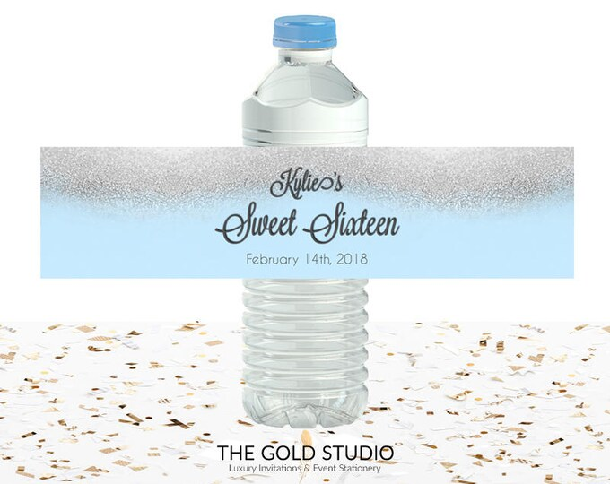 Blue & Silver Glitter Sweet 16 Water Bottle labels | Sweet Sixteen water bottle drink cover | 16th Birthday printed Drink labels