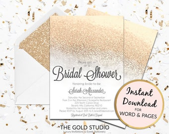 Instant Download Bridal Shower invitation white and gold glitter editable template elegant print at home invite Editable in Word & Pages