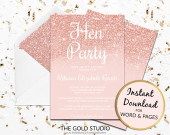Hen Party Invitation | Rose Gold hen invite | Instant Download template | Editable hen party invitations | Modern Peach Pink Glitter