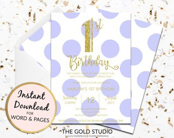 1st birthday invitation instant download purple violet gold glitter template children's party editable digital file Mac or PC Word or Pages