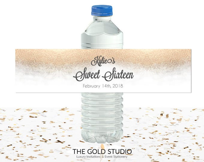 White & Gold Glitter Sweet 16 Water Bottle labels | Sweet sixteen water bottle drink cover | 16th Birthday printed Drink labels