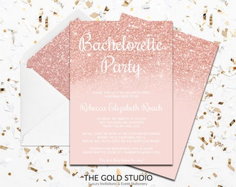 Rose Gold & Glitter Bachelorette Party Invitation | Blush Peach Modern Elegant Printed Bachelorette Party Invitations | Luxury Invitations