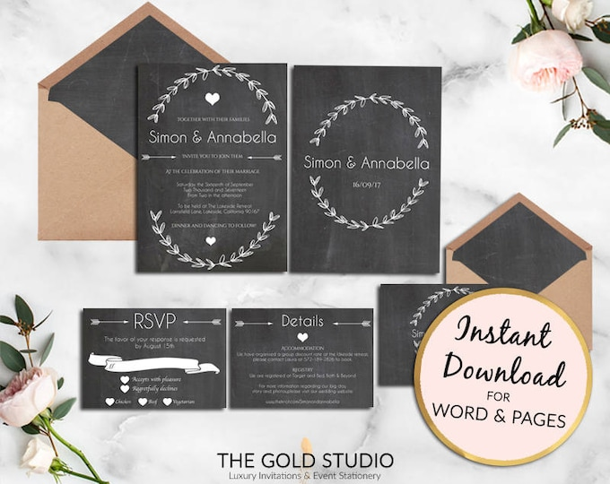 Instant Download Wedding invitation set Elegant black and white chalk board modern wreath RSVP Details Print at home Mac or PC Word or Pages