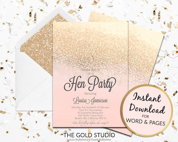 Printable Blush Peach and gold glitter Hen Party invitation hen party invite hens night invitation Mac or PC Word or Pages Instant Download