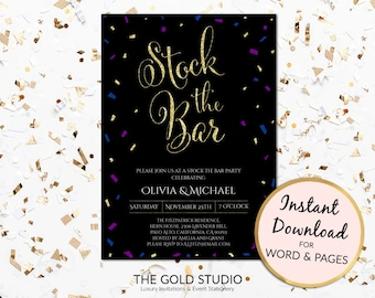 Instant Download Stock the bar invitation Editable template Engagement Black elegant couples shower printable For PC or Mac, Word & Pages