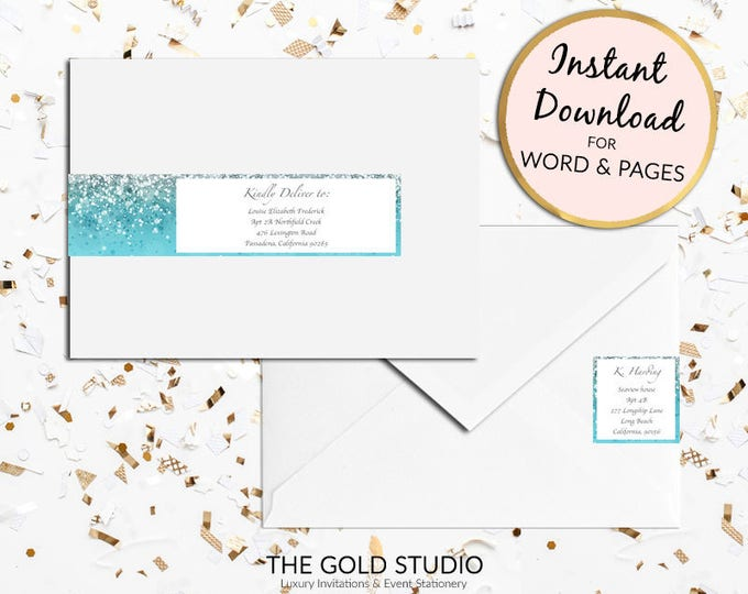 Printable Blue glitter Return address labels Envelope wrap address sticker wrap around label for Mac or PC, Word or Pages Instant Download