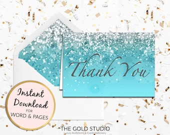 Blue Thank you card instant download | Turquoise blue thank you note card | Printable Sweet 16, Bridal shower, birthday thank you note card