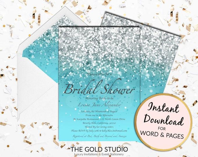 Blue Bridal Shower invitation Instant Download   Turquoise silver glitter shower invite   Modern Editable Template   Invitation Printable