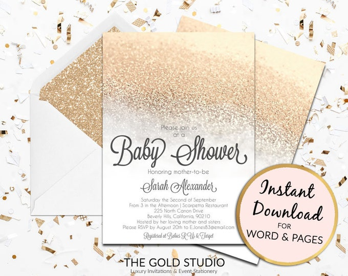 Baby Shower invitation Instant download editable template White and Gold glitter elegant modern print at home Edit in Word & Pages PC or Mac