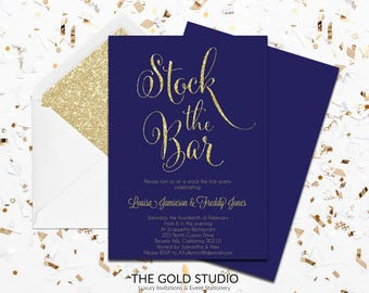 Navy Blue Stock The Bar Engagement Invitation | Modern Couples Shower Invite | Glamorous Gold Glitter Printed Couples Shower Invitation