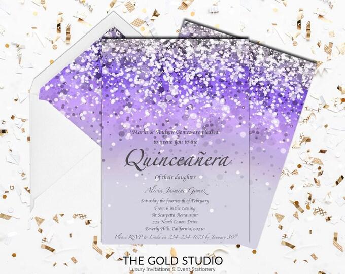 Purple Quinceañera Invitation | Mis Quince anos Glitter 15th Birthday Invite | Glamorous lilac Birthday Quince invitation | Printed Invites