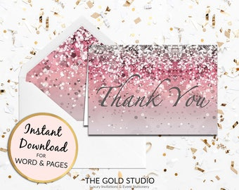 Pink glitter Thank you card Instant Download | Pink thank you note card | Sweet 16, Birthday, Bridal Shower Thank you card printable