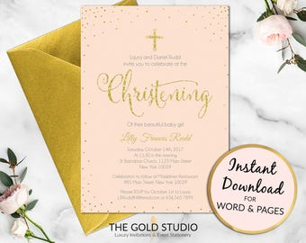 Christening invitation Instant download | Blush pink & Gold glitter christening party invite | Girls religious invitation |Editable template