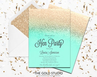 Mint & Gold Glitter Hen Party Invitation | Modern Elegant Printed Hen Invitation | Turquoise Hen Night Invitation | Printed Hen Party Invite