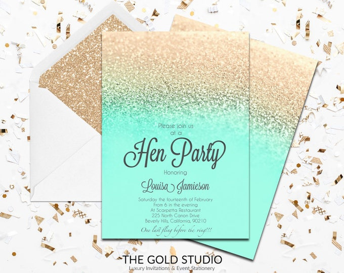 Mint & Gold Glitter Hen Party Invitation | Modern Elegant Printed Hen Invitation | Turquoise Hen Night Invitation | Printed Hen Party Invite