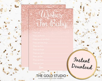 Rose Gold Wishes For Baby | Baby shower Game Instant Download | Printable Well Wishes Baby Shower Game | Baby Shower Games Print at home