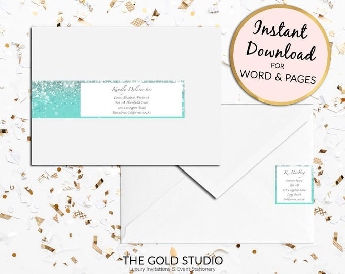 Printable Turquoise blue teal Return address labels Envelope wrap address sticker wrap  label for Mac or PC, Word or Pages Instant Download