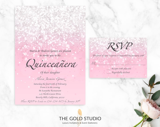 Quinceanera Invitation & RSVP Cards | Pink Glitter Printed Quinceañera Invitations | 15th Birthday Party Glamorous Mis Quince Invitations