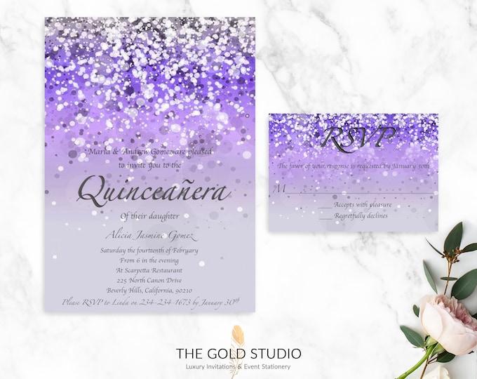 Purple Quinceanera Invitation & RSVP Set   Printed Quinceanera Invitation suite   Glamorous Purple Glitter 15th Birthday Party Invitations