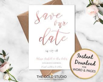 Save the Date Rose Gold Instant Download | Modern Save Our Date Invitation | Printable Wedding invite | Modern Calligraphy Invitation