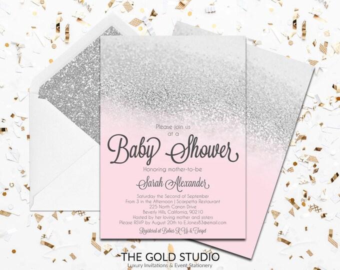Pink & Silver Glitter Baby shower Invitation   Modern Glamorous Blush Pink Shower Invitation   Elegant Feminine Baby Girl Shower Invite
