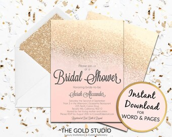 Instant Download Bridal Shower invitation blush pink peach gold glitter editable template elegant print at home invite Editable Word / Pages