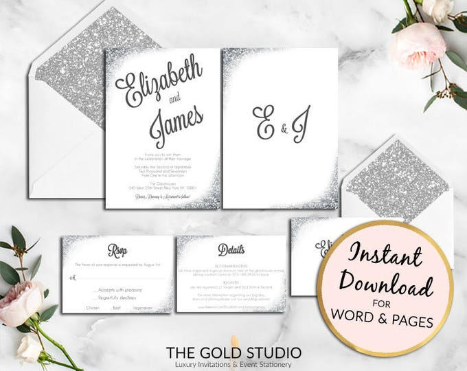 Instant Download Silver Glitter Wedding invitation set editable winter wedding template RSVP Details Print at home Mac or PC Word or Pages