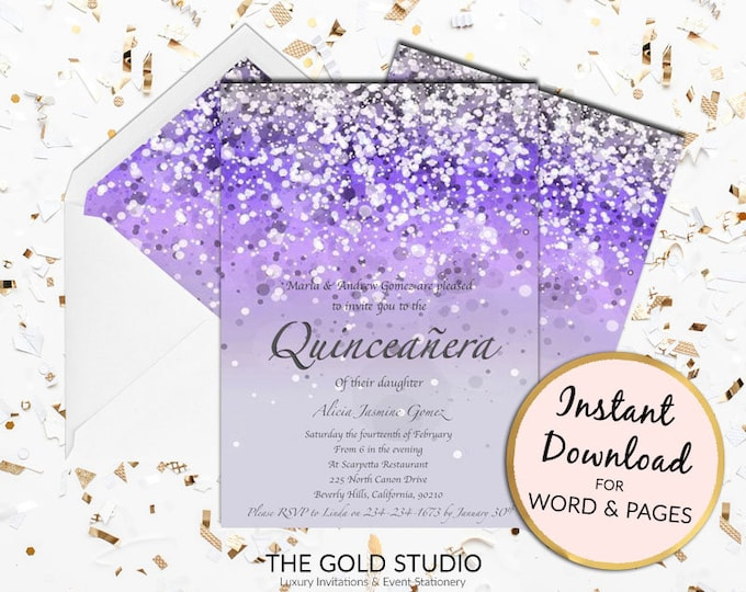 Purple Quinceañera invitation lilac Mis quince anos Print at home Glitter Quince invite Birthday Mac or PC Word or Pages Instant Download