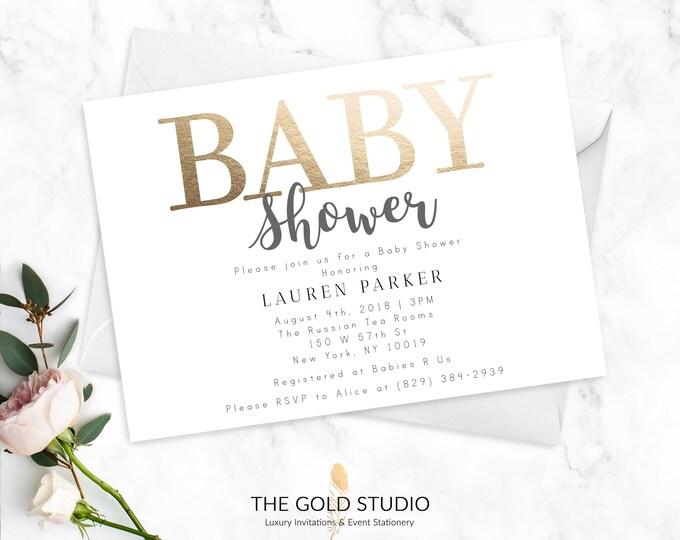 Baby Shower Invitations   Modern Gold + White Gender Neutral Baby Shower Cards   Printed Shower Invitations   Elegant Baby Shower Invitation