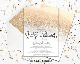 White & Gold Glitter Baby shower Invitation | Modern Glamorous Shower Invitation | Elegant Gender Neutral Feminine Baby Shower Printed cards
