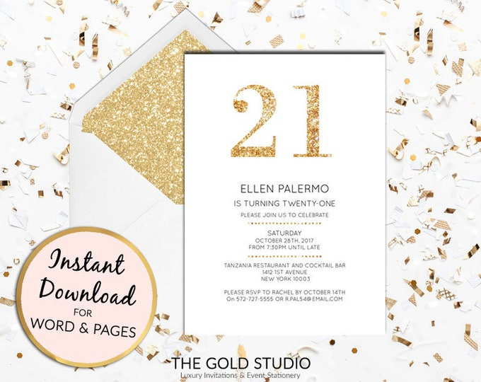 Instant download 21st birthday gold glitter invitation twenty first birthday invite editable invitation template Mac or PC, Word or Pages