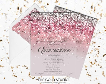 Pink Quinceañera invitation | Mis Quince Anos Pink Glitter 15th Birthday Invite | Glamorous Pink Birthday Printed Quince invitations