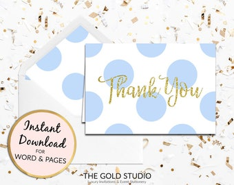 Blue Thank you card instant download children's birthday party spots gold glitter thanks note card Mac or PC Word & Pages Instant Download