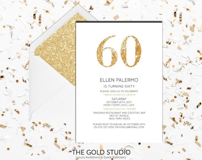 60th Birthday Invitation | White & Gold Glitter modern 60 birthday invite | Printed Invitations 60th Birthday Milestone birthday invitation