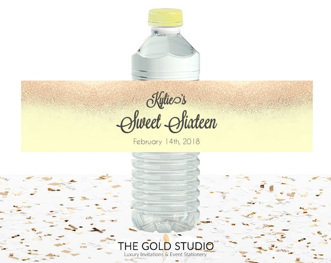 Yellow & Gold Glitter Sweet 16 Water Bottle labels | Sweet sixteen water bottle drink cover | 16th Birthday printed Drink labels